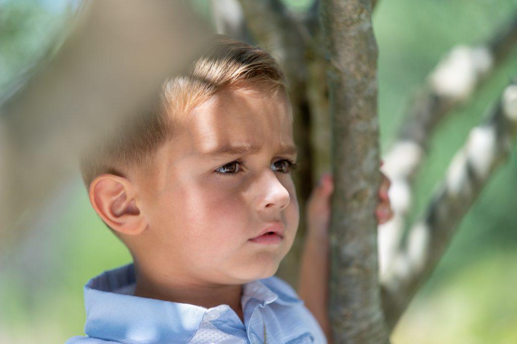 Portrait d'un jeune garçon dans les arbres. Photo Studio Polidori
