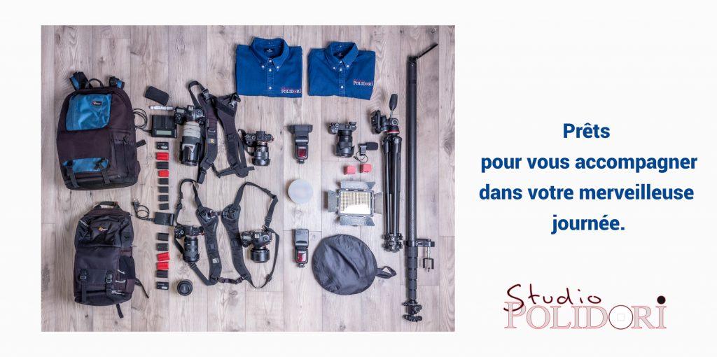 Voici le matériel que nous apportons lors de nos prestations mariage. Photo Studio Polidori